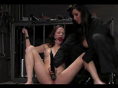 Hot bondage with a very submissive redhead