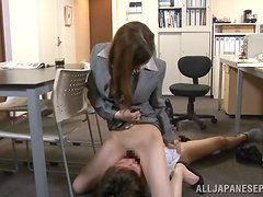 Lusty office girl gives herself to her boss for a higher wage