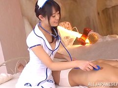 A guy gets stunningly fucked by hot Japanese nurse Kokoro Harumiy