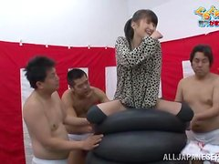 Kinky Japanese chick sucks a dick and gets toyed at TV show