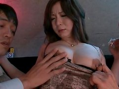 They lick and fondle the girl in sexy fishnets