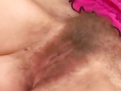 Blonde with seriously hairy bush  sucks cock