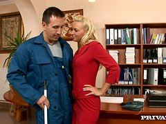 Blonde Demi Blue Getting Fucked for Jizz on Her Butt by the Janitor