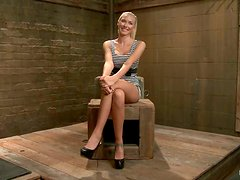 Katie Summers gets her body oiled and her vag toyed in BDSM clip