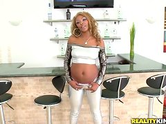Blond Black girl gets fucked and jizzed on her ass in interracial vid