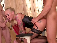 Voluptuous blonde mom is screwed hard in a kinky DP porn action