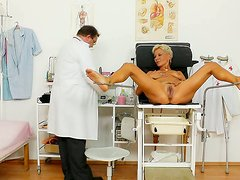 Bosomy pink pussy of blond MILF Ellen exposed in Old Pussy Exam clip
