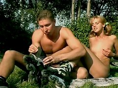 European teen hottie with ponytails is riding hard dick fucking outdoor