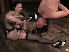 Claire Adams binds and whips horny dude Dorian in a basement