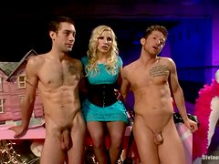 Kinky Hot Blonde Ashley Fires Playing with Two Dudes in Pegging Femdom Vid