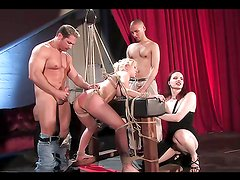 Slut is tied up and fucking abused in BDSM scene