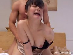 Slender Asian honey gets fucked from behind