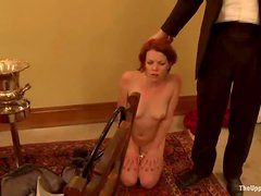 Tied up brunette girl in stockings gets whipped
