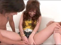 Japanese foreplay threesome with dildo play