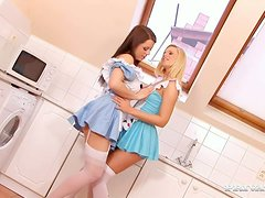 Two petite maids with oiled asses are acting in threesome