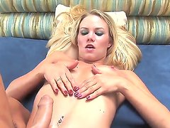 Raunchy blonde babe Sophia Lynn sits in front of her man while wanking his stiff