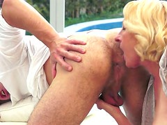 Bootyful blond grandma enjoys hard fuck from behind in doggy style