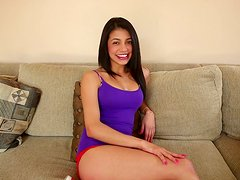 Hot Veronica Rodriguez fingers her teen pussy and blows a cock