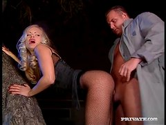 Fishnets babe Kitty Sixx sucks dick and fucks