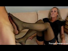 Classy mom Brandi Love blows him and strips