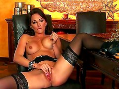 Stunning glamorous black haired bombshell Destiny Dixon with arousing heavy make up and big jaw