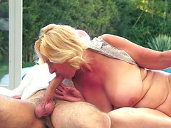 Filthy old BBW welcomes young stiff penis in her mouth for blowjob