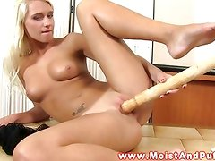 Juicy cherry blonde babe plays with toys