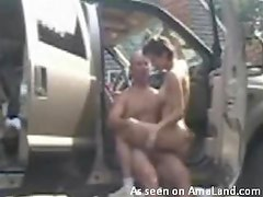 Couple fucks in the front seat
