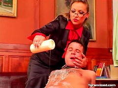 Therapist abuses him with hot wax