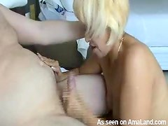 Chubby guy cums from her BJ