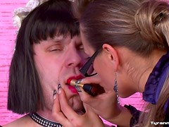 Sissy maid dominated by satin mistress