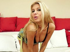 Aphrodisiac blonde mommy with gorgeous body is stripping seductively