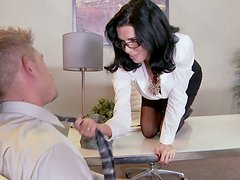 Whorable black haired secretary in glasses provides her boss with a blowjob