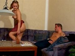 Juggy playful Russian whore tickles her snatch with fingers in front of her BF
