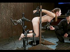 Perverted bondage scene with submissive cutie