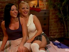 Lea Lexis and her GF get their pussies stuffed with wired toys in BDSM clip