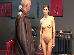 Rapacious brunette with pale body Sophie gets fucked from behind by old Paul