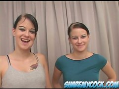 The Milton Twins Hot Sisters Sharing a Cock in POV Threesome