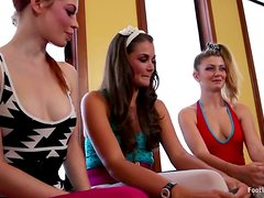 Foot Fetish and Toying Fun in Lesbian Threesome with Strapon Action