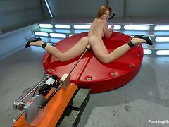 Jodi Taylor gets her shaved vag drilled by a fucking machine