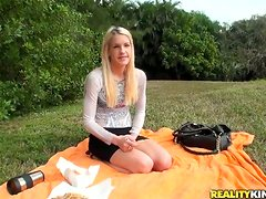 Blonde hussy Rebecca enjoys sucking and riding a cock in a forest