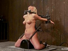 Tara Lynn Foxx sits down on a fucking machine before getting bound