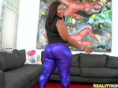 Black chick with huge ass fucks some White dude on a sofa
