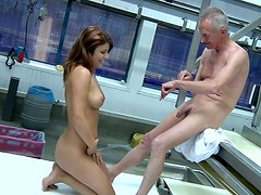 Lucky old bastard Paul takes a chance to fuck busty brunette Elena missionary