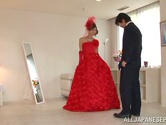 Kinky Tailor Fucking Reira Aisaki with Her Fancy Red Dress On