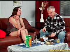 Cutie in sparkly top drinks and eats with guy