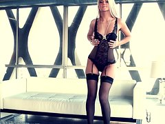 Amazing Annette White poses in stockings in Playboy video