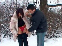 Kinky shameless brunette girlfriend is pissing outdoor
