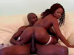 Sizzling hot black hottie gets fucked up in missionary style