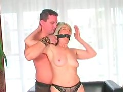 Lewd and slutty old booty nympho gets gagged and fingerfucked on cam